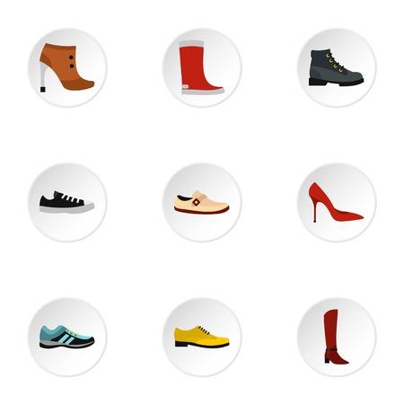 footgear: Footgear icons set. Flat illustration of 9 footgear vector icons for web Illustration