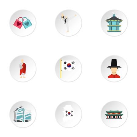 republic of korea: South Korea republic icons set. Flat illustration of 9 South Korea republic vector icons for web