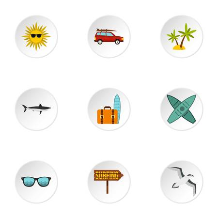 surf vector: Swimming on surf icons set. Flat illustration of 9 swimming on surf vector icons for web