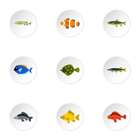 clown tang: Species of fish icons set. Flat illustration of 9 species of fish vector icons for web
