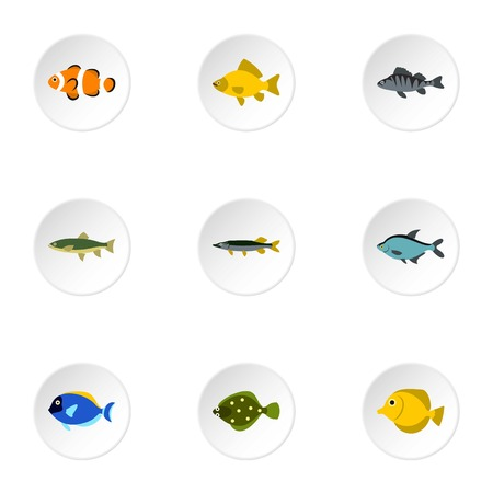 clown tang: River fish icons set. Flat illustration of 9 river fish vector icons for web