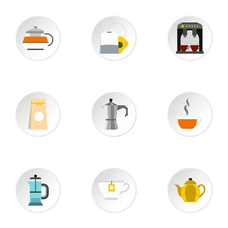 Types of drinks icons set. Flat illustration of 9 types of drinks vector icons for web