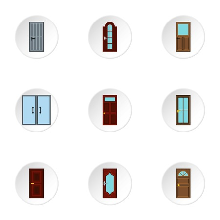 double entry: Security doors icons set. Flat illustration of 9 security doors vector icons for web Illustration