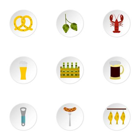alcoholic beverage: Alcoholic beverage icons set. Flat illustration of 9 alcoholic beverage vector icons for web
