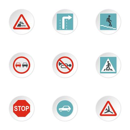 Sign icons set. Flat illustration of 9 sign vector icons for web