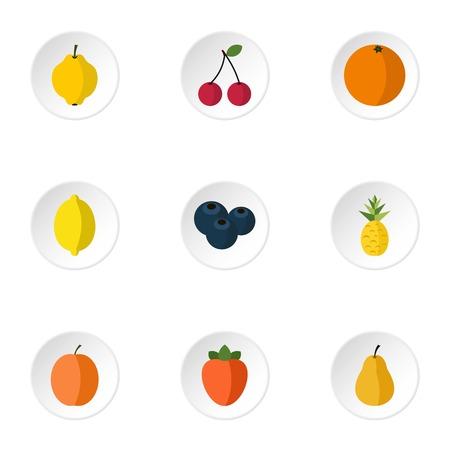 Types of fruit icons set. Flat illustration of 9 types of fruit vector icons for web Illustration