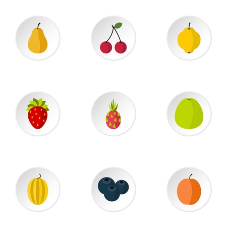 pears: Orchard fruits icons set. Flat illustration of 9 orchard fruits vector icons for web