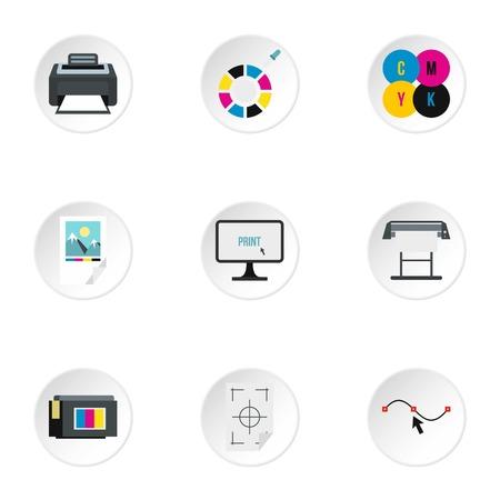 picker: Printer icons set. Flat illustration of 9 printer vector icons for web