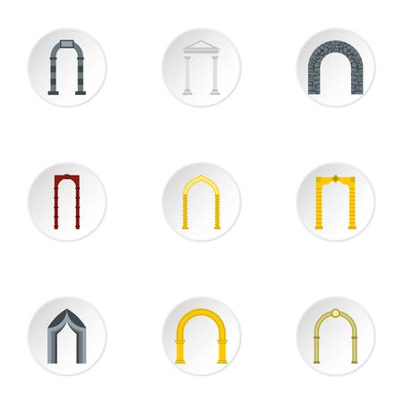 archway: Archway icons set. Flat illustration of 9 archway vector icons for web