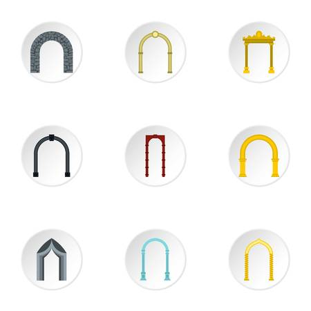 arched: Arched openings icons set. Flat illustration of 9 arched openings vector icons for web