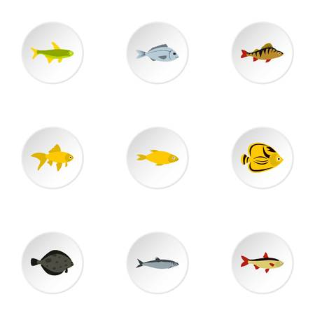tang: Species of fish icons set. Flat illustration of 9 species of fish vector icons for web