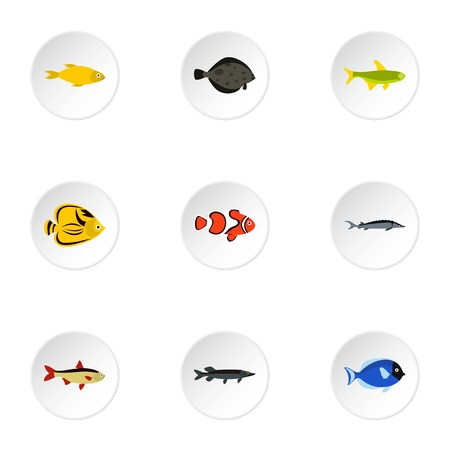 clown tang: Tropical fish icons set. Flat illustration of 9 tropical fish vector icons for web Illustration