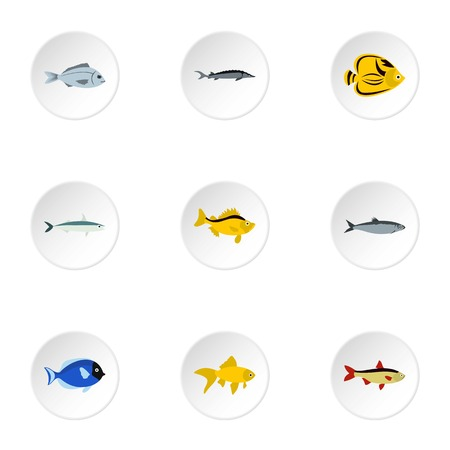 tang: Ocean fish icons set. Flat illustration of 9 ocean fish vector icons for web