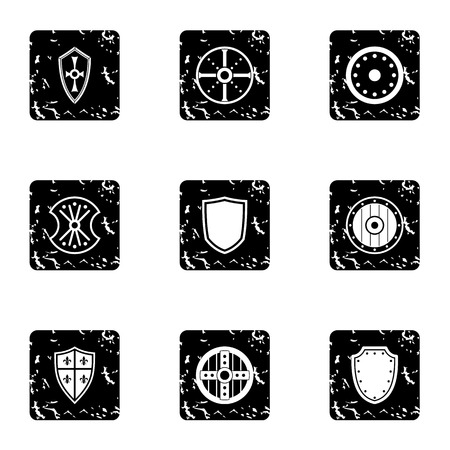 military shield: Military shield icons set. Grunge illustration of 9 military shield vector icons for web Illustration