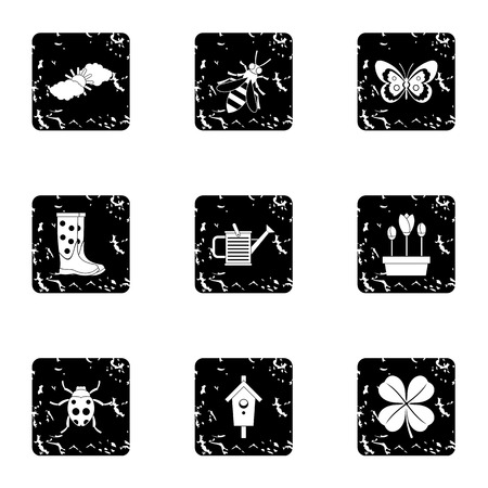 garden maintenance: Garden maintenance icons set. Grunge illustration of 9 garden maintenance vector icons for web