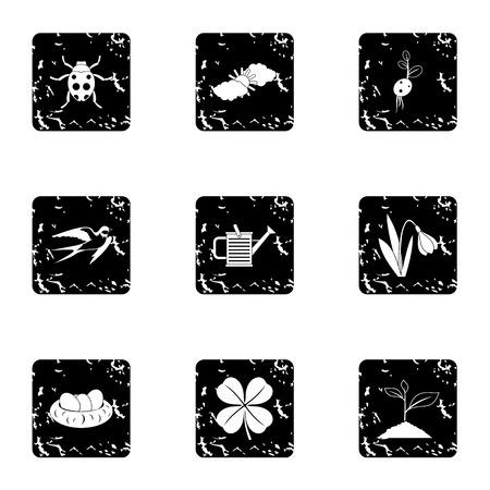 tending: Tending garden icons set. Grunge illustration of 9 tending garden vector icons for web