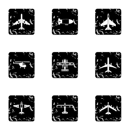 combat: Combat aircraft icons set. Grunge illustration of 9 combat aircraft vector icons for web