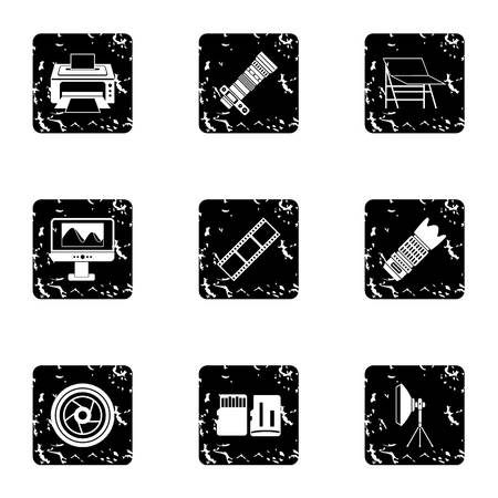 photography icons: Photography icons set. Grunge illustration of 9 photography vector icons for web
