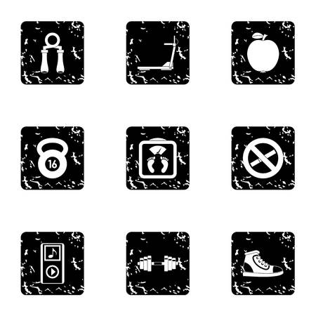 Fitness icons set. Grunge illustration of 9 fitness vector icons for web Vetores