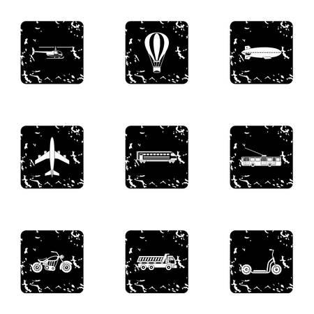 Transport icons set. Grunge illustration of 9 transport vector icons for web
