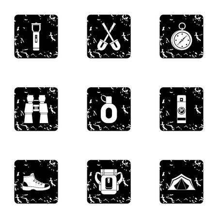 wildlife shooting: Hike icons set. Grunge illustration of 9 hike vector icons for web Illustration