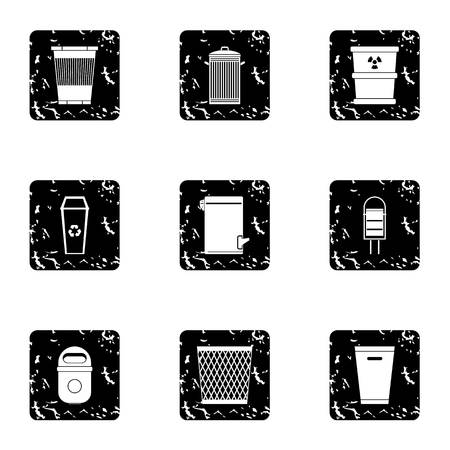 rubbish bin: Rubbish bin icons set. Grunge illustration of 9 rubbish bin vector icons for web Illustration