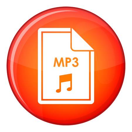File MP3 icon in red circle isolated on white background vector illustration