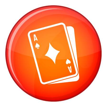 Playing card icon in red circle isolated on white background vector illustration