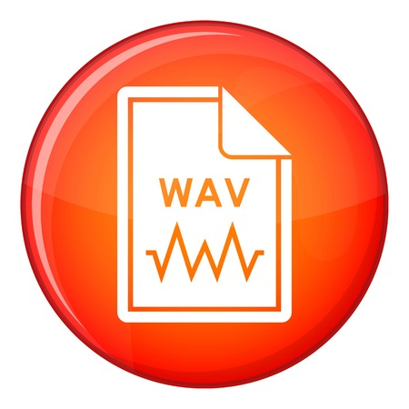 File WAV icon in red circle isolated on white background vector illustration Illustration