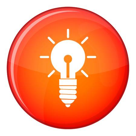 Light bulb idea icon in red circle isolated on white background vector illustration