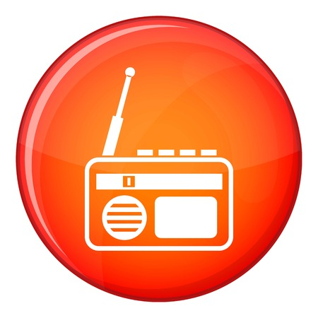 fm: Radio icon in red circle isolated on white background vector illustration