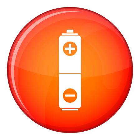 Battery icon in red circle isolated on white background vector illustration