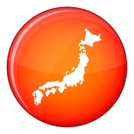 Map of Japan icon in red circle isolated on white background vector illustration