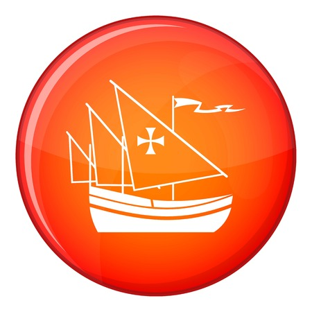 Ship of Columbus icon in red circle isolated on white background vector illustration Illustration