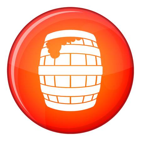 Barrel of beer icon in red circle isolated on white background vector illustration