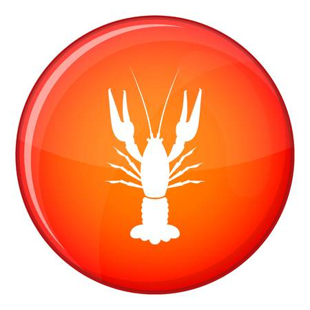 Lobster icon in red circle isolated on white background vector illustration