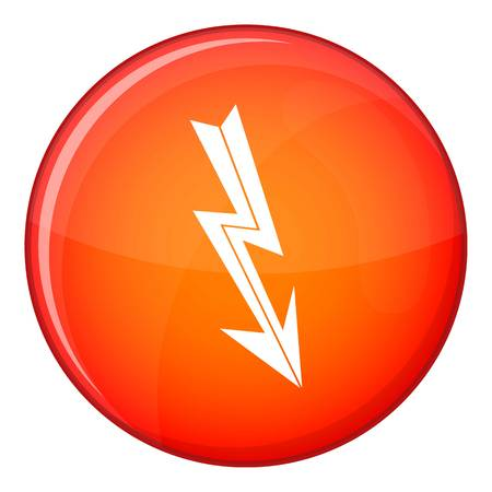 Arrow lightning icon in red circle isolated on white background vector illustration Illustration