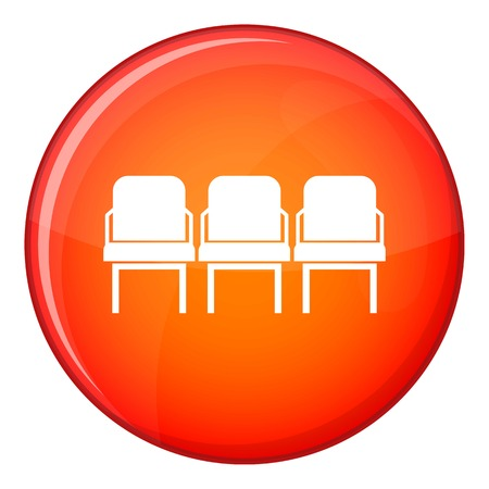 Chairs in the departure hall at airport icon in red circle isolated on white background vector illustration Illustration