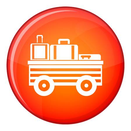 Service cart with luggage icon in red circle isolated on white background vector illustration