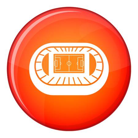 real tennis: Stadium top view icon in red circle isolated on white background vector illustration