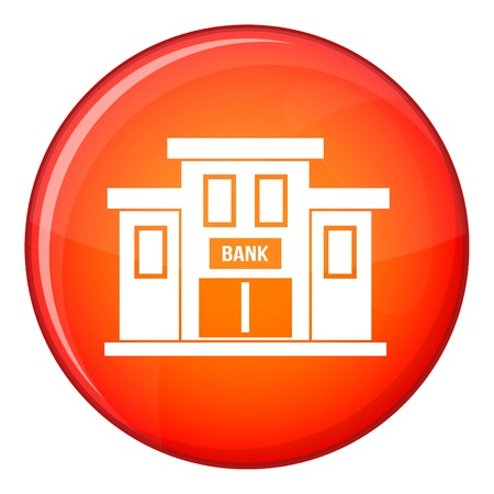 derecho romano: Bank building icon in red circle isolated on white background vector illustration