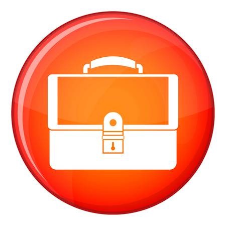 Briefcase icon in red circle isolated on white background vector illustration