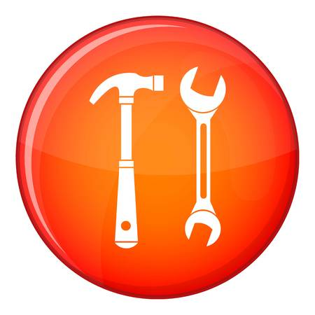 Hammer and wrench icon in red circle isolated on white background vector illustration