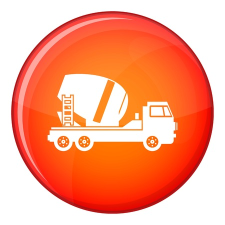 Concrete mixer truck icon in red circle isolated on white background vector illustration Illustration