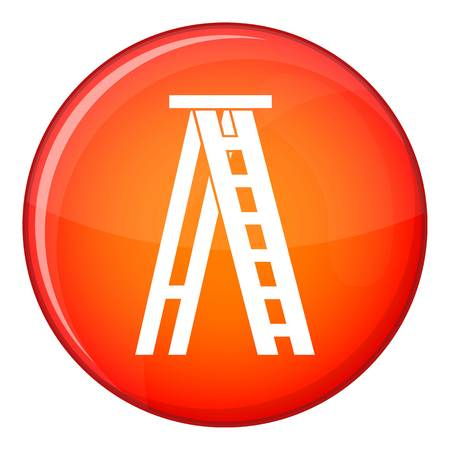 Stepladder icon in red circle isolated on white background vector illustration