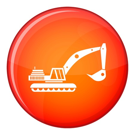 mine site: Excavator icon in red circle isolated on white background vector illustration