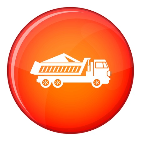 quarry: Dump track icon in red circle isolated on white background vector illustration Illustration