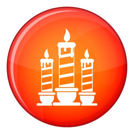 alight: Festive candles icon in red circle isolated on white background vector illustration Illustration