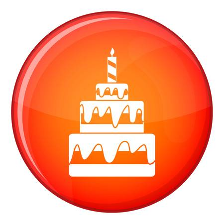 Cake icon in red circle isolated on white background vector illustration