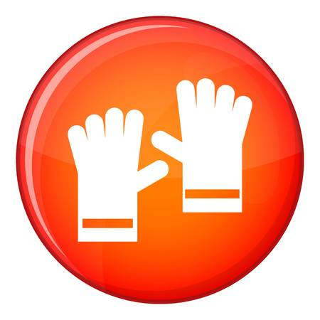 rubber gloves: Rubber gloves icon in red circle isolated on white background vector illustration Illustration